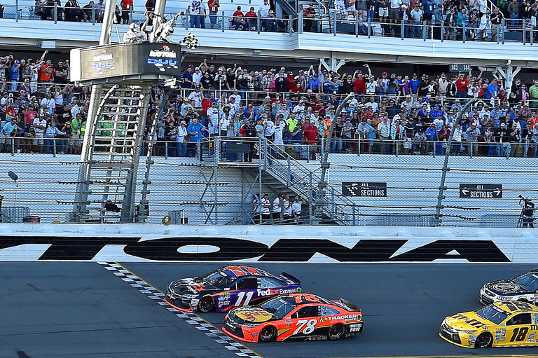 Denny Hamlin beats Martin Truex to the line in the 2016 Daytona 500. Photo via The New York Times