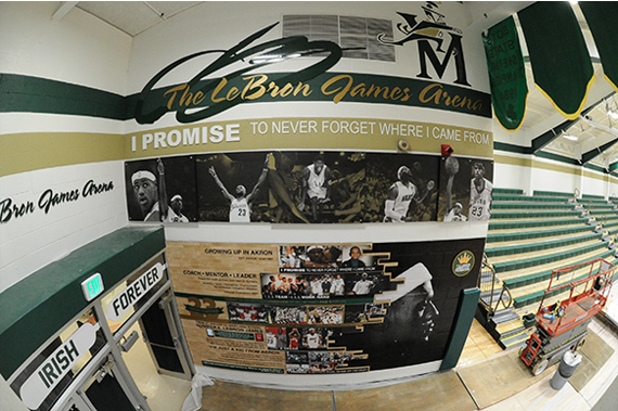 A view of one of the walls paying tribute to the St. V's Alum. Photo via St. Vincent St. Mary.