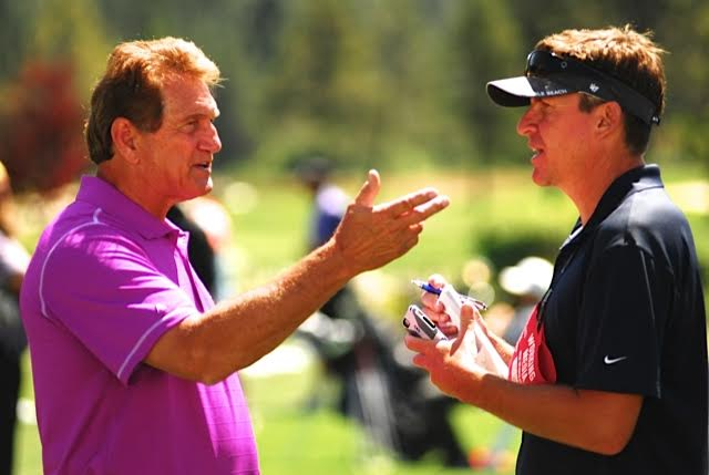 Cam Inman, right, interviews Joe Theisman, left, at the American Century Championships Celebrity Golf Tournament in South Lake Tahoe, NV.Photo via Jeff Bayer Photography.