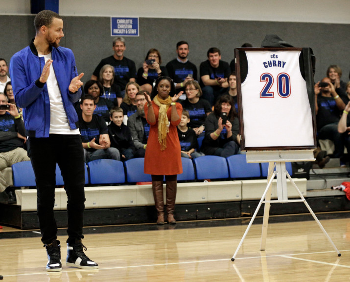 Warriors star Steph Curry was recently honored at his high school. AP Photo/Chuck Burton
