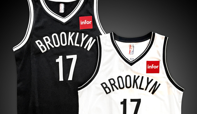 A look at the Brooklyn Nets' jerseys with the Infor logo. Photo via NBA.com