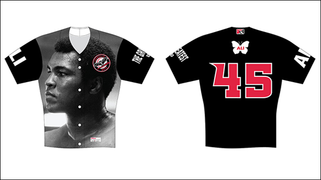 The jerseys that the Louisville Bats will wear to honor Muhammad Ali. Photo via milb.com