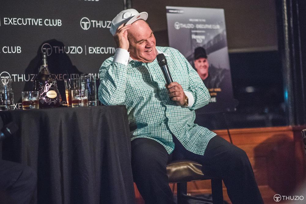 MLB legend Pete Rose speaking at Thuzio Executive Club meeting in San Francisco. Photo via Thuzio
