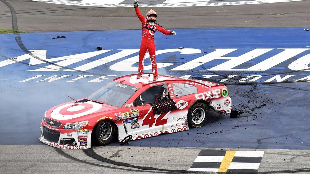 Chip Ganassi Racing driver Kyle Larson celebrates his first career Monster Energy NASCAR Cup Series victory. Photo from Autoweek.