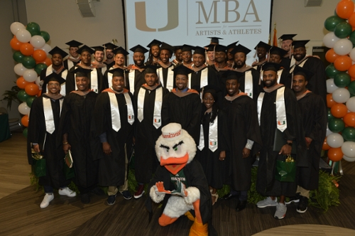 In 2016, Miami's Executive MBA for Artists and Athletes saw more than 30 current and former NFL players graduate in the inaugural class of the program. Photo via the University of Miami
