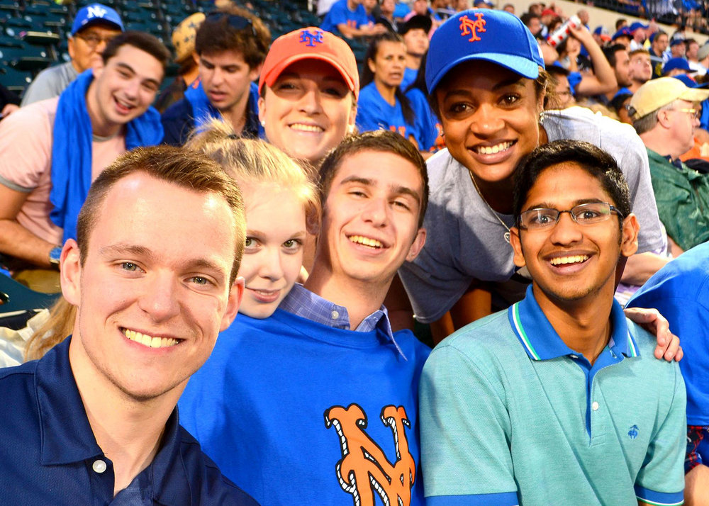 Sanjit (far right) and his other MSBA members enjoy a Mets game last summer. Photo via Bailey Weigel