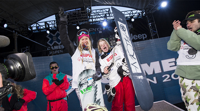 Teter (left) and Shilts (right) at Shilts' debut in the X Games. Photo via Sports Illustrated Kids