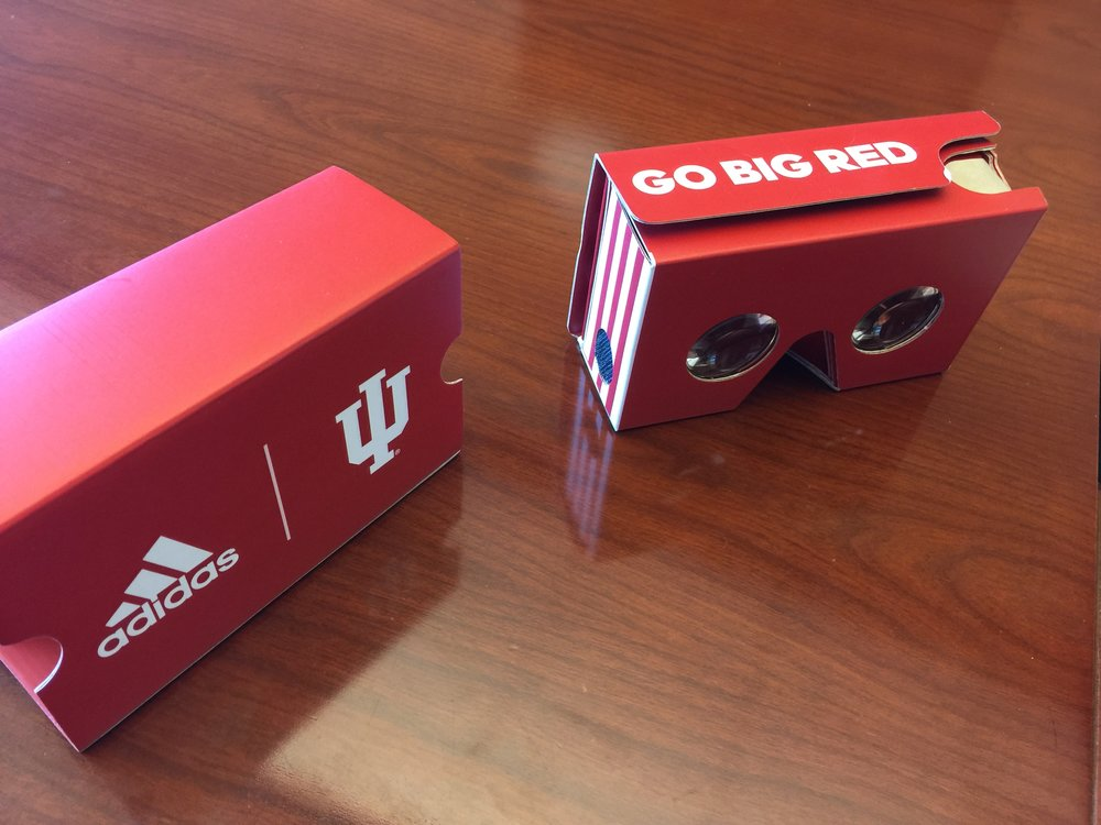 Indiana University and adidas provided these cardboard VR headsets to 2,000 students during their game against Northwestern. Image courtesy of Jeremy Gray, Indiana University Athletics.
