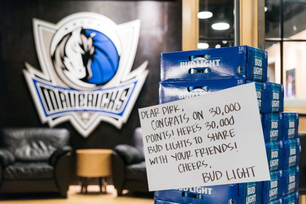Bud Light's note to Dirk. Image via NYDailyNews