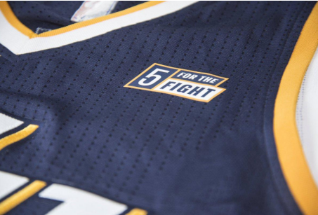 The new Five for the Fight jersey patch the Jazz will wear. Photo via Utah Jazz, @utahjazz
