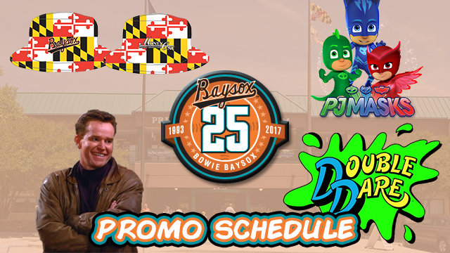 The graphic for the Baysox's 2017 promotions schedule. Photo via milb.com.