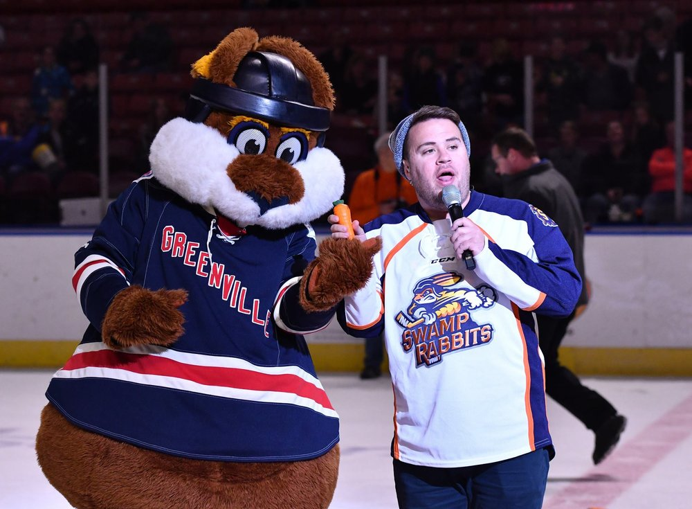 Zach also works day and night for a minor league hockey affiliate of the New York Rangers; the Greenville Swamp Rabbits.Photo via Zach Sprunger