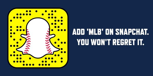 MLB is active on all major social platforms. Image via MLB and Snapchat.