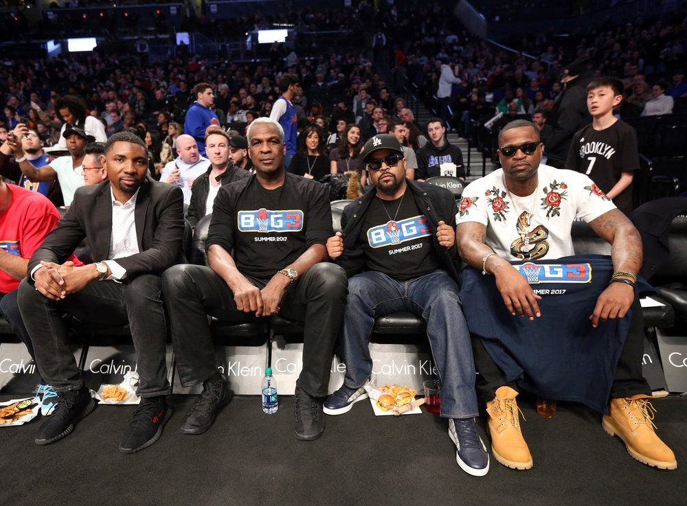 Sporting BIG3 shirts, Charles Oakley and Ice Cube can be seen here at a recent Nets game. Image via @theBig3