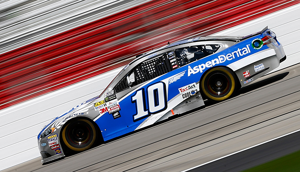 Danica Patrick drives her No. 10 Aspen Dental Ford earlier this season. Nature's Bakery was supposed to be Patrick's sponsor for 28 races, but ended its agreement with SHR and Patrick. Image from MRN.