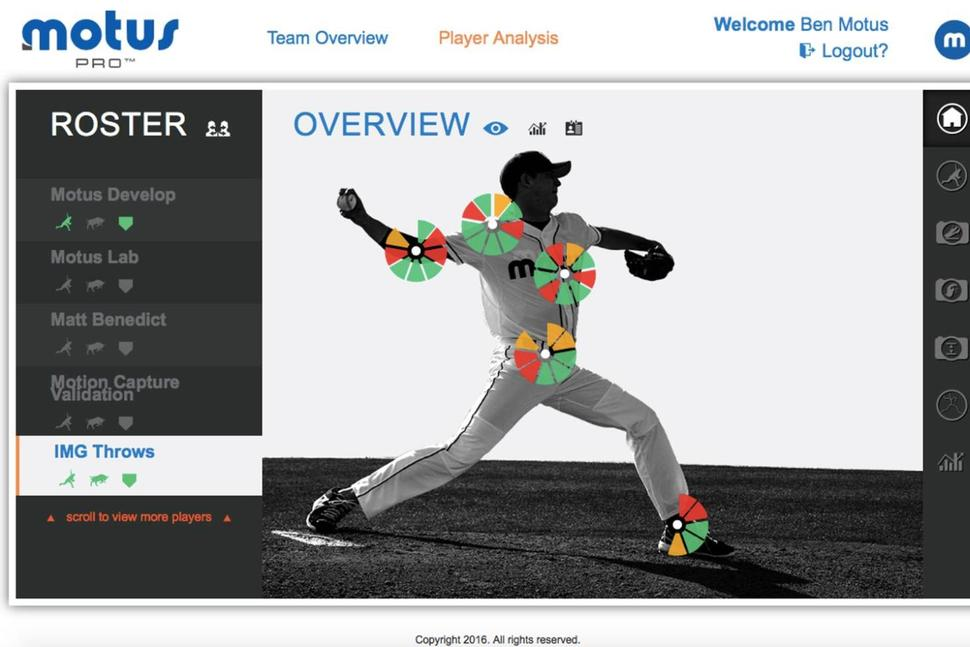 Motus is a major player in the baseball wearable technology industry. Image via Motus Global and the Associated Press.