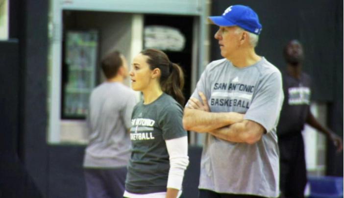 Becky Hammon and Gregg Popovich in San Antonio Spurs' practice. Photo via ESPN.