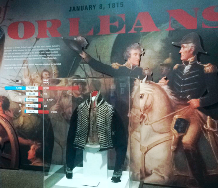 A military officer's uniform jacket on display at Jackson's home in Nashville Tennessee, The Hermitage.