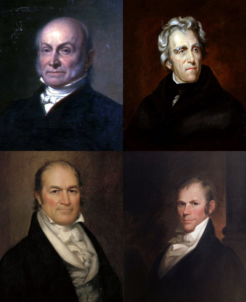 Top Left to Right: John Quincy Adams, Andrew Jackson Bottom Left to Right: William H. Crawford, and Henry Clay. Wikimedia Commons.