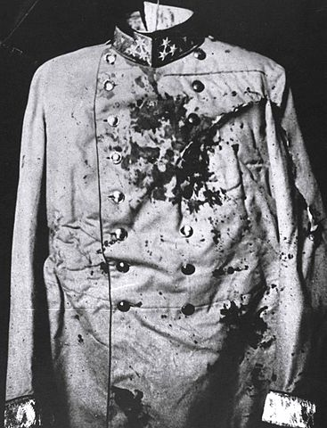 Archduke Franz Ferdinand's bloody coat. Wikimedia Commons.