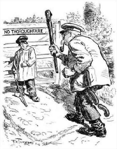 "A British cartoon by F.H. Townsend from Punch in 1914 depicting ""young"" Belgium barring ""elderly"" Germany's path. Wikimedia commons."