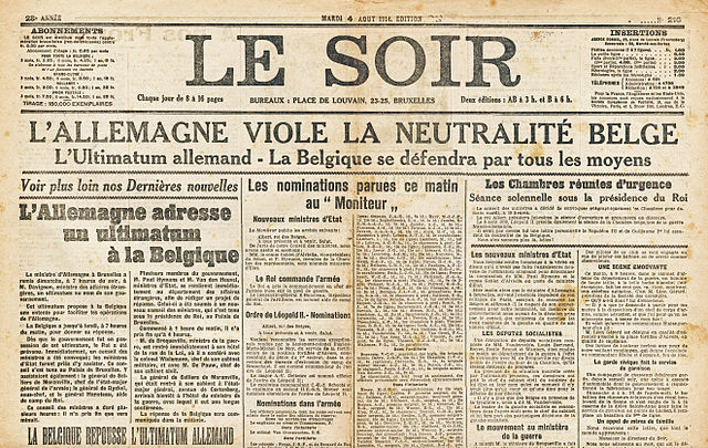 Le Soir French newspaper headline, August 4, 1914--Germany violates Belgian neutrality. Wikimedia Commons.