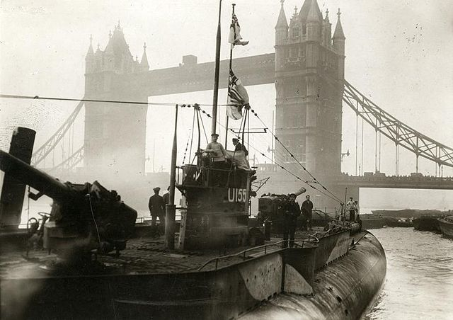 U-155 exhibited near Tower Bridge in London 1918. Wikimedia Commons.