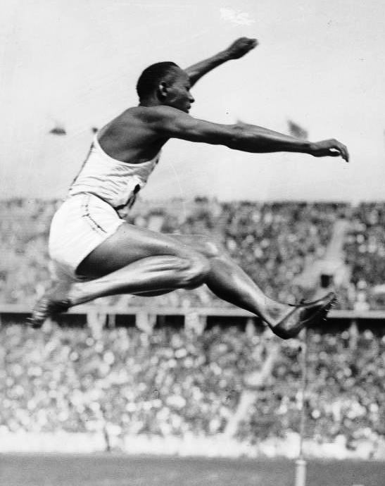 Jesse Owens competing at the 1936 Berlin Olympics. Bundesarchiv, Bild 183-R96374 / CC-BY-SA 3.0