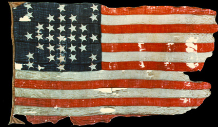 Fort Sumner flag, Anderson was allowed to keep the flag that was taken down to be replaced with a confederate flag. The flag became a national relic upon its arrival in New York days after the fort fell. Wikimedia Commons.