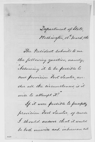 Letter from Wililam H. Seward to President Lincoln on the difficulties resupplying Fort Sumter. Wikimedia Commons.