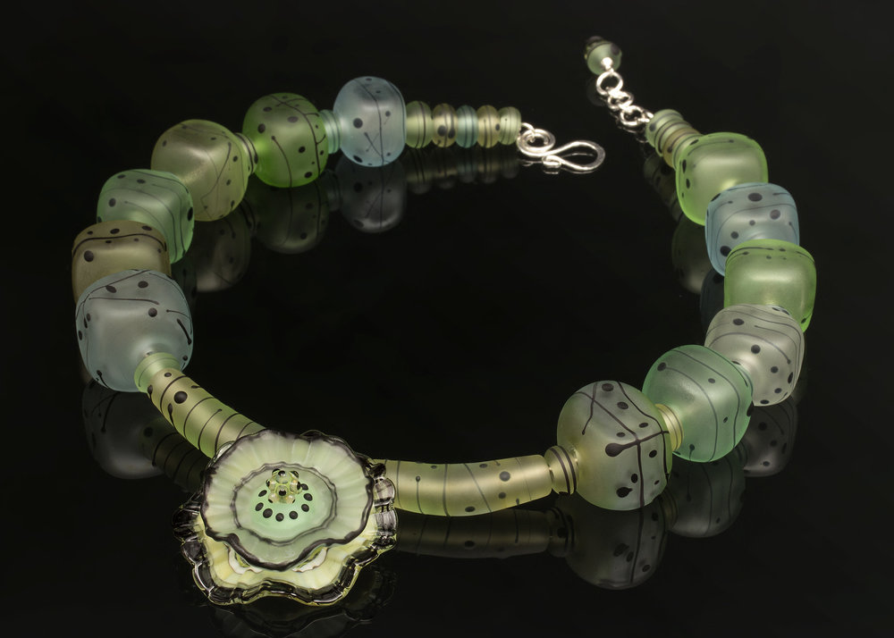 Green Anemone Hollow Bead Necklace