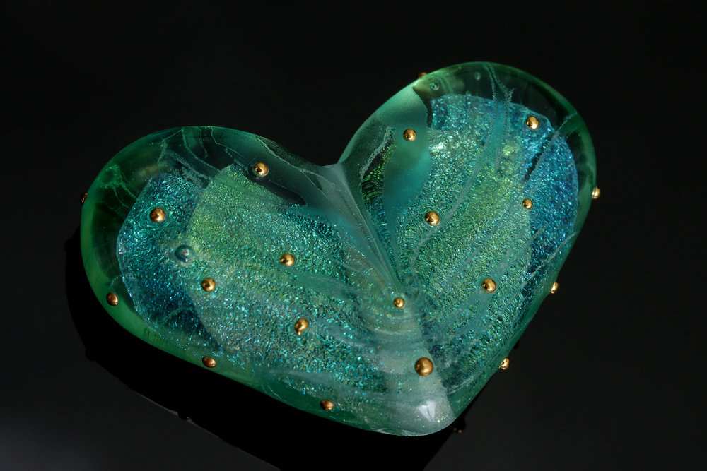 Green Dichroic Heart Bead with 24k Gold Dots