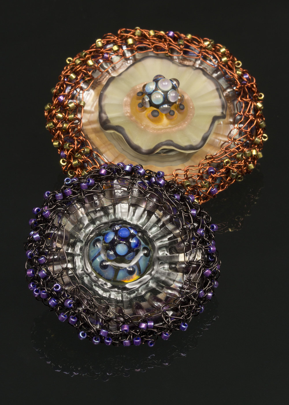Anemone Pendants with Crocheted Beaded Embellishment
