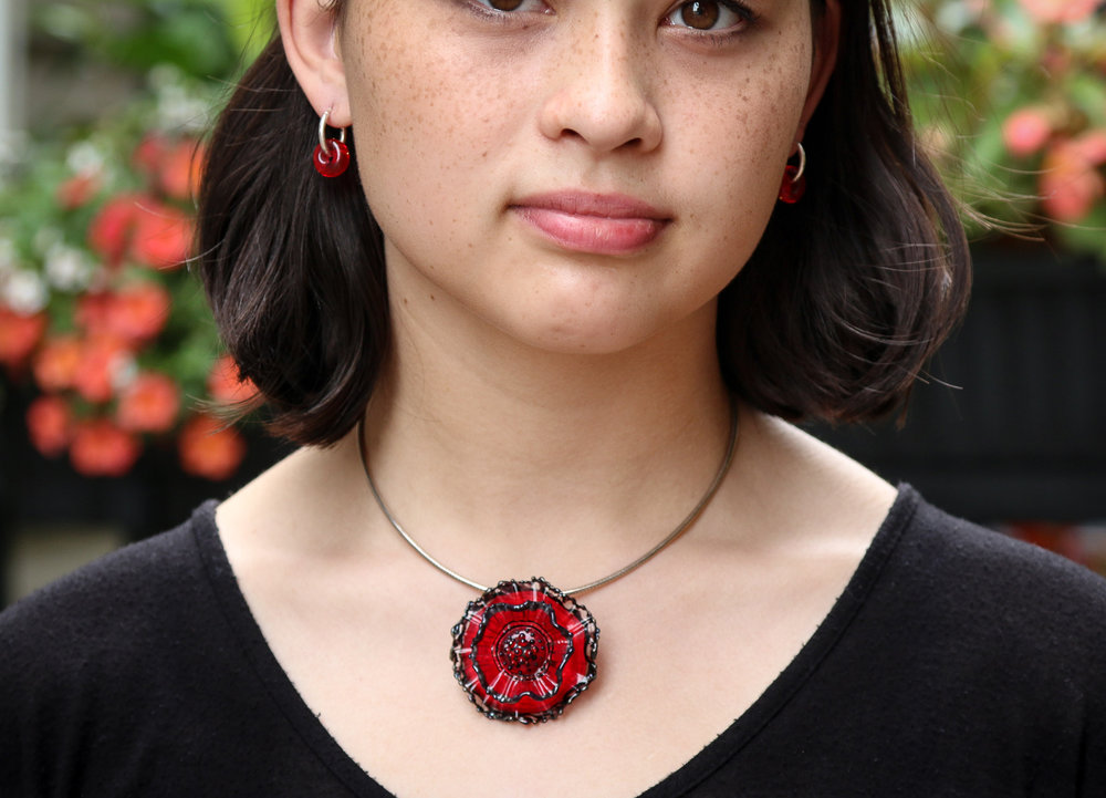 Red/black Anemone Pendant; Hoop earrings with red beads