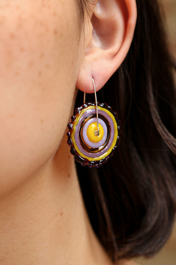 Purple/lavender/yellow Trapeze Earrings