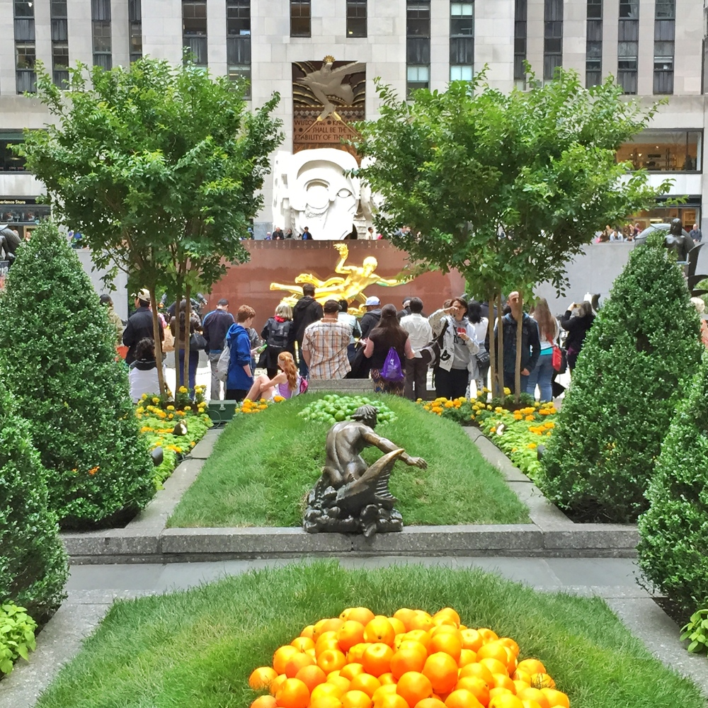 A super fun citrus display in Rockefeller Plaza.