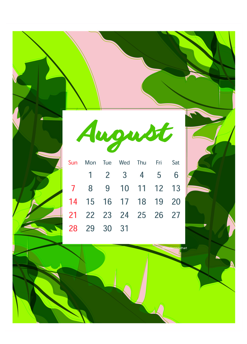 8.5 x 11 downloadable calendar by Modern South Art