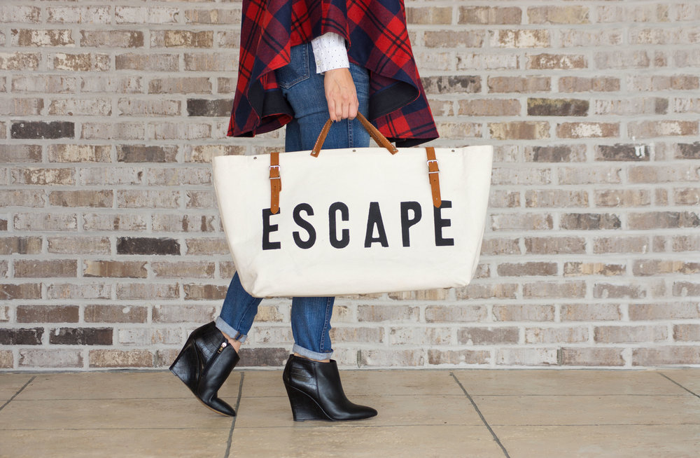 Escape Weekender Bag, $99 //  Georgia Plaid Cape, $325