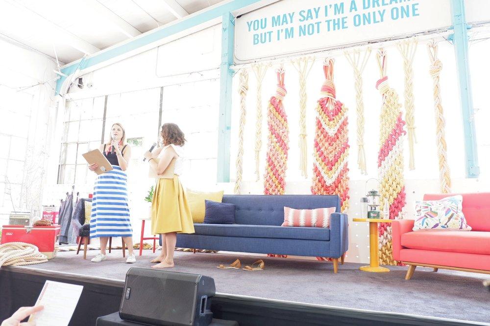 """Morgan Cornelius & Ellen Marie Bennett emceeing the 2017 """"School of Hustle"""""""