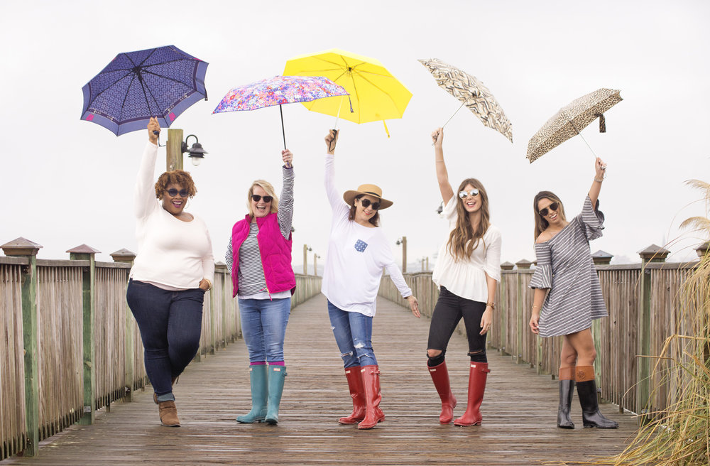 Charleston bloggers with colorful umbrellas