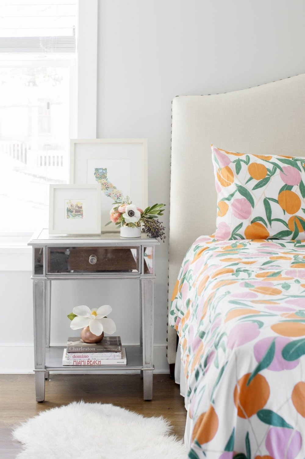 colorful bedspread Florida themed decor