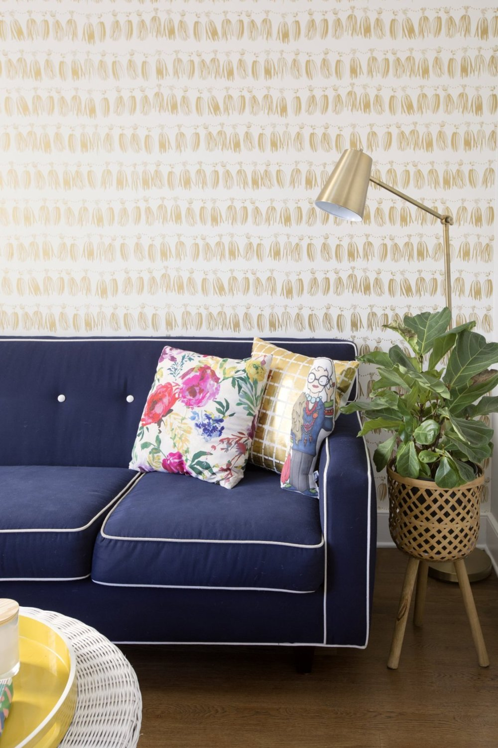 navy couch with white piping