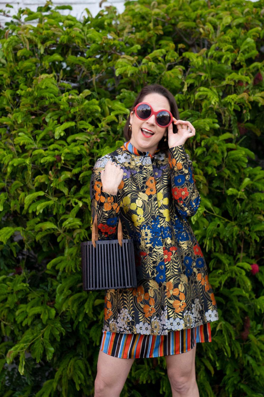 Zac Posen brocade jacket and Friedrich's Optik sunglasses worn by Charleston Weekender