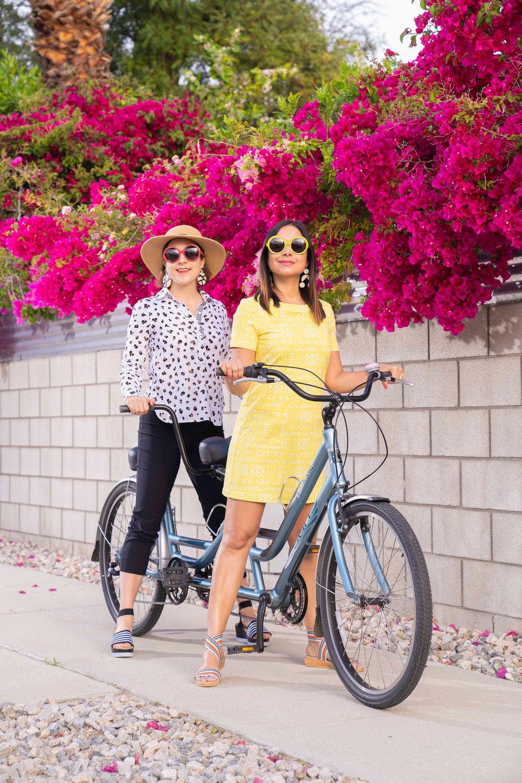 Charleston bloggers Charleston Weekender & Charleston Shop Curator wearing Persifor outfits & chic round Friedrich's Optik sunglasses