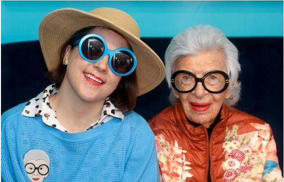 Iris Apfel wearing Friedrich's Optik glasses with Charleston Weekender in Palm Beach