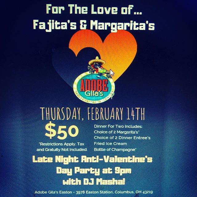Reminder! Our anti-valentines party is tonight! Come party with @thedjmasha  #margarita #fajitas #champagne #party