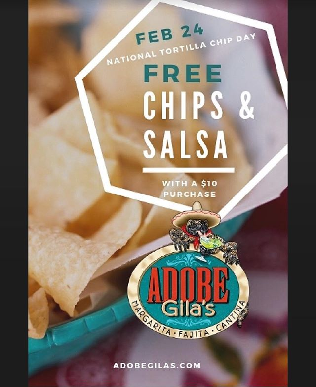 Another national day to celebrate with us! #nationaltortillachipday Come grab any purchase for $10 and get free chips and salsa with it! #mexicanfood #margaritas #chipsandsalsa