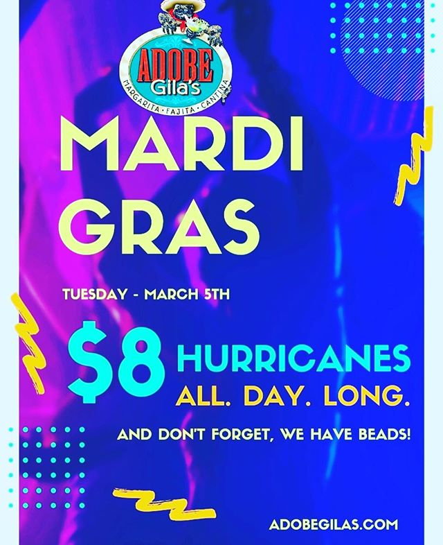 """""""And don't forget, we have beads"""" #mardigras2019 #mexicanfood #hurricanes #dailyspecials #tacos #margaritas"""