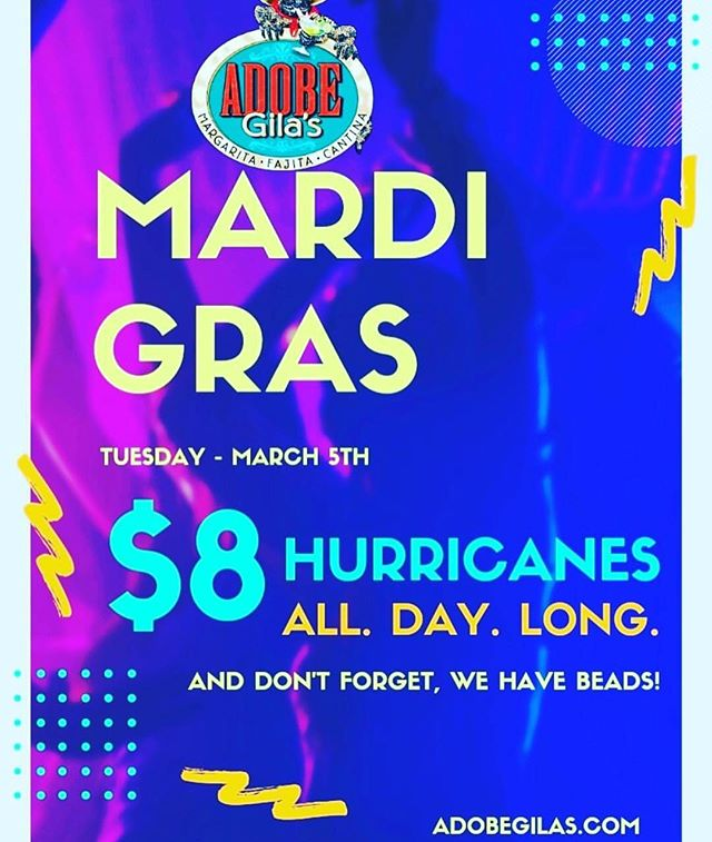 Reminder! You don't want to miss our Mardi Gras party. $8 Hurricanes all night long! #party #hurricanes #mardigras