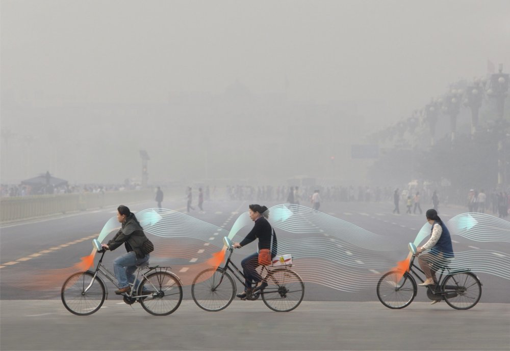 Smog-free bicycle concept  https://www.studioroosegaarde.net/project/smog-free-project/photo/#smog-free-project